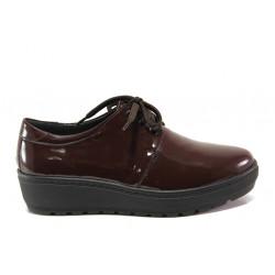 Дамски ортопедични обувки от естествена кожа SOFTMODE 2301 Connie бордо | Дамски обувки на платформа