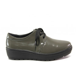 Дамски ортопедични обувки от естествена кожа SOFTMODE 2301 Connie зелен-сив | Дамски обувки на платформа
