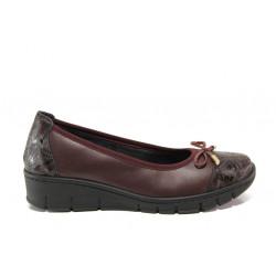Дамски ортопедични обувки от естествена кожа SOFTMODE 243 Tina бордо | Равни дамски обувки