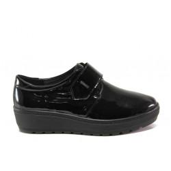 Дамски ортопедични обувки от естествена кожа SOFTMODE 2302 Charlene черен лак | Дамски обувки на платформа
