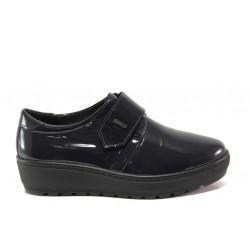 Дамски ортопедични обувки от естествена кожа SOFTMODE 2302 Charlene син лак | Дамски обувки на платформа