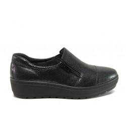 Дамски ортопедични обувки от естествена кожа SOFTMODE 2304 Chrissy черен | Дамски обувки на платформа
