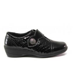 Дамски ортопедични обувки от естествена кожа-лак SOFTMODE 1177 Zabrina черен | Дамски обувки на платформа