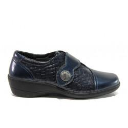 Дамски ортопедични обувки от естествена кожа-лак SOFTMODE 1177 Zabrina син | Дамски обувки на платформа