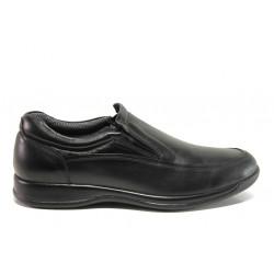 Мъжки ортопедични обувки от естествена кожа SOFTMODE 10 London черен | Мъжки ежедневни обувки