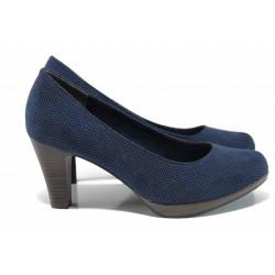 Дамски обувки с перфорация Marco Tozzi 2-22445-30 син | Немски обувки на ток