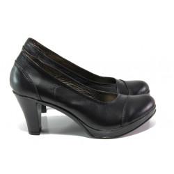 Анатомични български обувки от естествена кожа НЛ 140-6843 черен кожа | Дамски обувки на висок ток