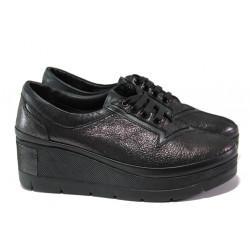 Анатомични дамски обувки от естествена кожа МИ 808-750 черен сатен | Дамски обувки на платформа