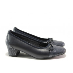 Дамски ортопедични обувки SOFTMODE 5602 син кожа | Дамски обувки на среден ток