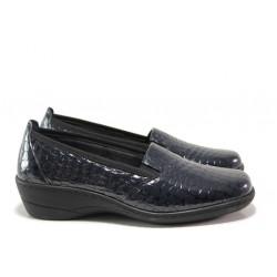Дамски ортопедични обувки от естествена кожа-лак SOFTMODE 1114 т.син кроко | Дамски обувки на платформа