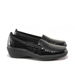 Дамски ортопедични обувки от естествена кожа-лак SOFTMODE 1114 черен кроко | Дамски обувки на платформа