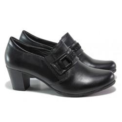 Дамски обувки от естествена кожа за Н крак Jana 8-24403-23 черен | Немски обувки на ток