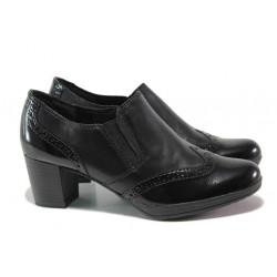 """Дамски обувки от естествена кожа с """"мемори"""" пяна Marco Tozzi 2-24404-23 черен ANTISHOKK   Немски обувки на ток"""