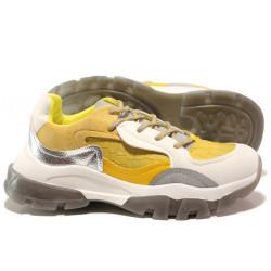 Иновативни юношески маратонки на комфортно ходило БИ 021 жълт | Дамски маратонки