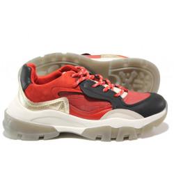 Иновативни юношески маратонки на комфортно ходило БИ 022 червен | Дамски маратонки