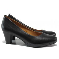 Дамски обувки от естествена кожа Caprice 9-22409-23 черен кожа ANTISHOKK | Немски обувки на среден ток
