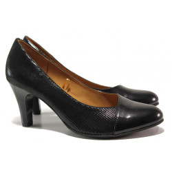 Дамски обувки от естествена кожа-лак Caprice 9-22400-23 черен ANTISHOKK | Немски обувки на висок ток