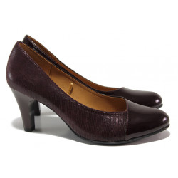 Дамски обувки от естествена кожа-лак Caprice 9-22400-23 бордо ANTISHOKK | Немски обувки на висок ток