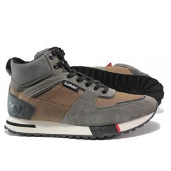 Мъжки спортни боти - тип кец от естествена кожа S.Oliver 5-15221-23 кафяв | Немски мъжки обувки