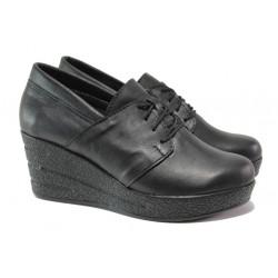 Анатомични български обувки от естествена кожа НЛ 292-96145 черен   Дамски обувки на платформа