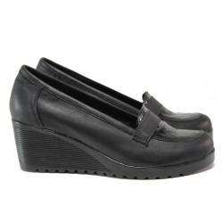 Анатомични български обувки от естествена кожа НЛ 282-1707 черен кроко | Дамски обувки на платформа