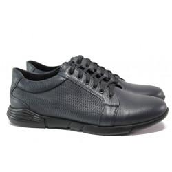 Анатомични мъжки обувки от естествена кожа МИ 5404 син | Мъжки ежедневни обувки