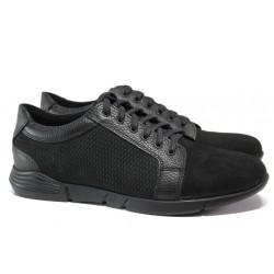 Анатомични мъжки обувки от естествен набук МИ 5404 черен | Мъжки ежедневни обувки