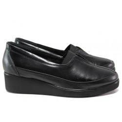 Дамски ортопедични обувки от естествена кожа МИ 6652 черен | Дамски обувки на платформа