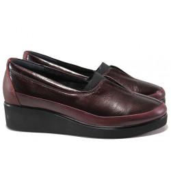 Дамски ортопедични обувки от естествена кожа МИ 6652 бордо | Дамски обувки на платформа