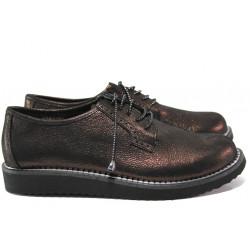 Дамски ортопедични обувки от естествена кожа МИ К102 бронз-бордо | Равни дамски обувки