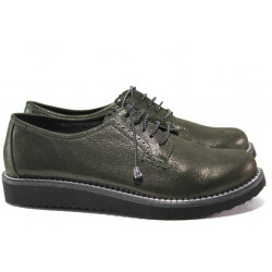 Дамски ортопедични обувки от естествена кожа МИ К102 зелен-черен | Равни дамски обувки