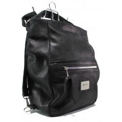 Българска дамска чанта-раница от естествена кожа ЕМИ 102 черен | Дамска чанта