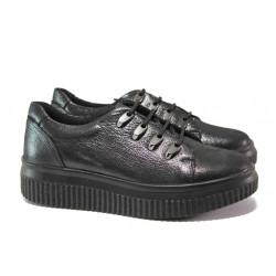Дамски ортопедични обувки от естествена кожа МИ 19523-2010 черен | Равни дамски обувки