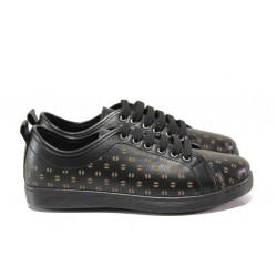 Дамски ортопедични обувки от естествена кожа МИ 201-14 черен | Равни дамски обувки
