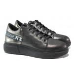 Дамски спортни обувки от естествена кожа МИ К318 черен   Равни дамски обувки