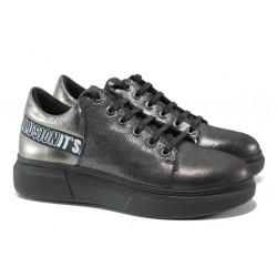 Дамски спортни обувки от естествена кожа МИ К318 черен | Равни дамски обувки