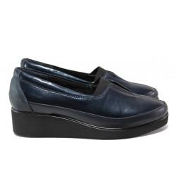 Дамски ортопедични обувки от естествена кожа МИ 6652 син | Дамски обувки на платформа