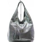 Българска дамска чанта от естествена кожа ЕМИ 100 сребро хамелеон | Дамска чанта