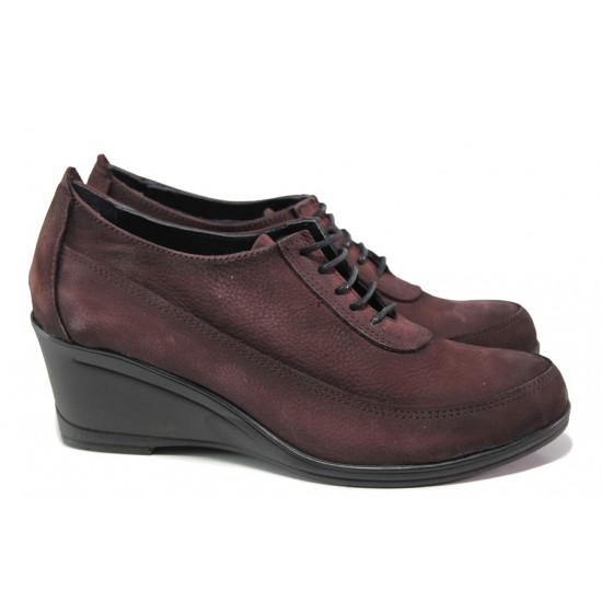 Анатомически дамски обувки от естествен набук МИ 401 бордо | Дамски обувки на платформа