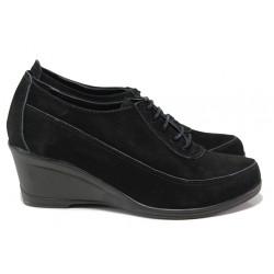 Анатомически дамски обувки от естествен набук МИ 401 черен | Дамски обувки на платформа