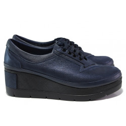 Анатомически дамски обувки от естествена кожа МИ 808-048 син | Дамски обувки на платформа