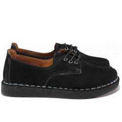 Дамски ортопедични обувки от естествен набук МИ 50105 черен | Равни дамски обувки