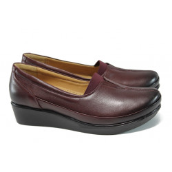Ортопедични дамски обувки от естествена кожа МИ 012 бордо гигант | Дамски обувки на платформа