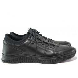 Мъжки ортопедични обувки от естествена кожа МИ 1315 черен | Мъжки ежедневни обувки