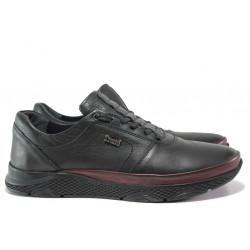 Мъжки ортопедични обувки от естествена кожа МИ 1314 черен-бордо | Мъжки ежедневни обувки