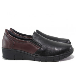 Дамски ортопедични обувки от естествена кожа SOFTMODE 314 бордо сатен | Равни дамски обувки