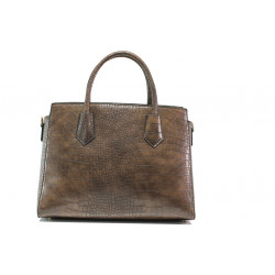 Елегантна дамска чанта с кроко мотив ФР 8584 кафяв | Дамска чанта