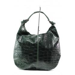 Модерна дамска чанта от естествена кожа ФР 1300 зелен кроко   Дамска чанта