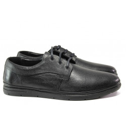 Мъжки обувки от естествена кожа МИ 1002 черен гигант | Мъжки ежедневни обувки