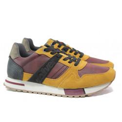 Мъжки маратонки с естествен велур-кожа S.Oliver 5-13610-23 горчица | Мъжки немски обувки
